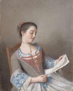 'La liseuse' (Marianne Lavergne, een nicht van de kunstenaar, in Lyonese plattelandskleding), Jean-Etienne Liotard, 1746