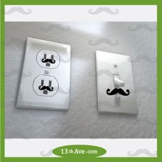 50 Mustache decals for wall outlet sockets, funny, also some for light switch covers.  any color stickers. cyber monday