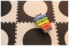 SoftTiles Black and White Die-Cut Circles Playroom Flooring