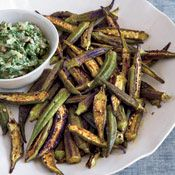 """Have had great success over the years cooking faux """"fried okra"""" by cooking whole okra over extremely high heat in a cast iron skillet with just a tiny bit of oil..., and then adding salt and pepper to finish. Want to try this technique..., and then just add this spice blend at the end.  Skillet-Roasted Spiced Okra, Recipe from Cooking.com"""