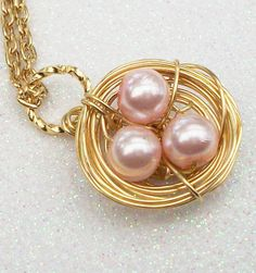 Sweet Little Birds Nest in Gold Pendant by Kikiburravictoriana, $20.00