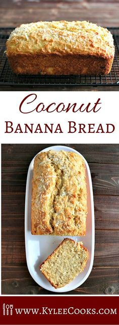 Coconut Banana Bread Adding coconut to this all time classic is a way to change-up the flavor, in a very tasty way. Coconut Banana Bread is a yummy snack, and goes great with your morning (or afternoon) tea or coffee. Coconut Banana Bread, Banana Bread Recipes, Ripe Banana Recipes Healthy, Quick Banana Bread, Blueberry Banana Bread, Coconut Muffins, Quick Bread, Dessert Bread, Dessert Recipes