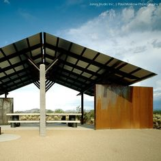 Rusted and remote, this desert pavilion for the historic Black Canyon Trial was designed by Architect Eddie Jones. Durable, functional and inherently sculptural. Jones Studio, Paul Markow Photography