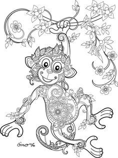 Monkey Adult Colouring Page