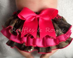 Camo and Hot Pink Ruffled Diaper Cover by RufflesandRouge on Etsy, $25.00