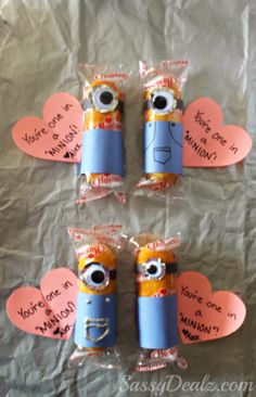 "Despicable Me ""You're One in a Minion"" Twinkie Valentines Day Treat for kids! #Valentines classroom treats #Minion valentines craft #Cute heart art project  