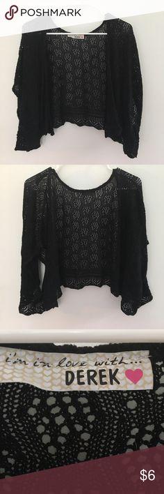 BLACK SHAWL!!! Short-sleeves black crocheted shawl. No size. Super comfortable!!! Super cute!!! Tops