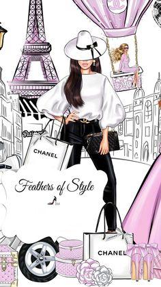 Megan Hess, Fashion Design Drawings, Fashion Sketches, Black Girl Art, Art Girl, Image Girly, Mode Collage, Chanel Decor, Cute Girl Drawing