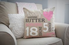 Hey, I found this really awesome Etsy listing at https://www.etsy.com/listing/253152869/personalized-birth-pillow-cover-birth