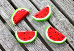 DIY Watermelon Buttons with Polymer Clay