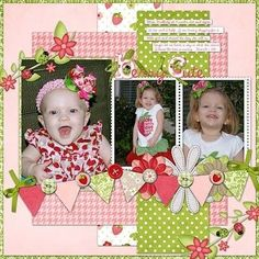Single page ~ pink and green