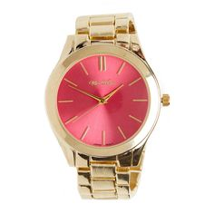 Modern Link Watch ($19) ❤ liked on Polyvore featuring jewelry, watches, accessories, pink, analog watches, pink watches, pink jewelry and analog wrist watch