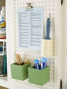 Put a stain treatment list on pegboard for easy reference   15 Organizational Hacks That'll Make You Like Doing Laundry via Brit + Co.
