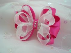 Items similar to Shocking Pink and White Dressy Pageant Flower Girl Hair Bow on Etsy No instructions.save for the idea Pink white hair bow Ribbon Hair Bows, Diy Hair Bows, Diy Bow, Bow Hair Clips, Ribbon Flower, White Hair Bows, Pink Hair, Barrettes, Hairbows