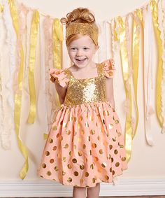 Look at this Just Couture Coral & Gold Sequin Angel-Sleeve Dress - Infant, Toddler & Girls on #zulily today!