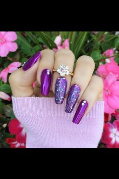 70 Alluring Acrylic Coffin Nails Design Ideas This Summer 64 Fabulous Nails, Gorgeous Nails, Love Nails, Pretty Nails, Purple Manicure, Purple Glitter Nails, Purple Nail Designs, Beautiful Nail Designs, Stiletto Nails