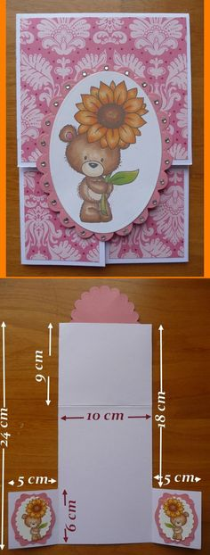 Carte à trois volets faite sur le principe de la carte double dutch Fun Fold Cards, Folded Cards, Sunflower Cards, Handmade Birthday Cards, Greeting Cards Handmade, Kids Cards, Baby Cards, Step Cards, Shaped Cards