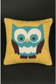 Owl Needlepoint Cushion