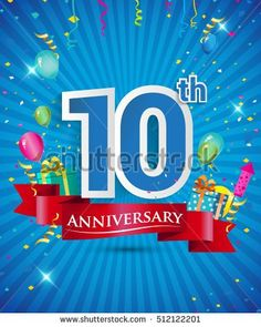 Celebrating 10 years Anniversary logo, with confetti and balloons, red ribbon, Colorful Vector design template elements for your invitation card, flyer, banner and poster.