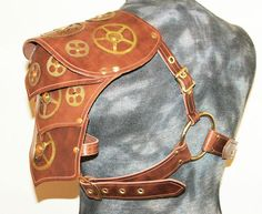 LEATHER SHOULDER ARMOR AND BRACER WITH BRASS GEARS LARP STEAMPUNK STEAM PUNK | eBay
