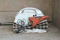 Chunky Primitive Snowman Wood Snowman Decor by therustygoose