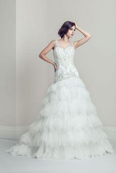 Salome - A-Line V-Neck Sleeveless Organza Wedding Dress - Ophelia Contessa White on White White Wedding Dresses, Wedding Gowns, Mermaid Wedding, V Neck, Collection, Fashion, Wedding Frocks, Moda, Bridal Gowns