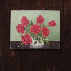 Roses Original Oil Painting 1950s Vintage by RareRagsandTreasures, $65.00