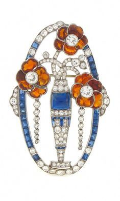Vintage Jewelry Art An Art Deco platinum, diamond, sapphire and citrine brooch, American, Old Jewelry, Modern Jewelry, Jewelry Art, Antique Jewelry, Vintage Jewelry, Fine Jewelry, Jewelry Design, Jewelry Bracelets, Diamond Brooch