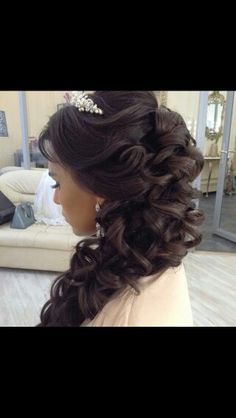 Side Hair back design with tiara
