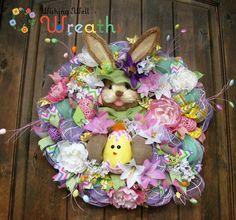Deco mesh Easter Bunny Wreath in Pink and Green, Mesh Easter  Wreath, Burlap Bunny Wreath, Deco Mesh Spring Wreath for Front Door, Bunny Wrea by WishingWellWreaths on Etsy wishingwellwreaths.etsy.com