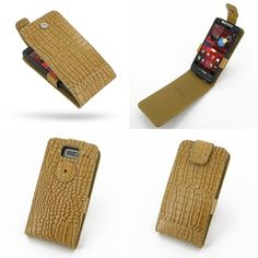 PDair Leather Case for Motorola Razr i XT890 - Flip Top Type (Brown/Crocodile Pattern)
