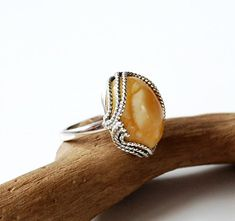 White-Yellow Natural Baltic Amber Ring, Honey Amber Ring, Amber And Sterling Silver Ring, Baltic Amber Jewelry, Amber Gift For Her