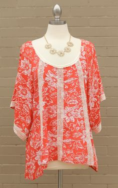 Curve~Floral Print Top with Lace - So sass! This curvy top is beautiful! Dress and Dwell - Good things for you and your home