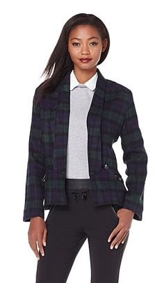 Looking for a patterned jacket for the cooler days? Stick with classic plaid and sport this Kelly Osbourne blazer to add preppy edge to any outfit!