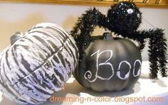 Dollar Tree pumpkins--- painted in chalk paint