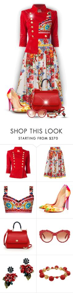 """Floral skirt (D&G)! - Contest!"" by asia-12 ❤ liked on Polyvore featuring Pierre Balmain, Dolce&Gabbana and Christian Louboutin"