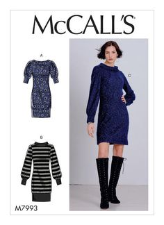 McCall's 7993 Misses' Dresses sewing pattern Coat Patterns, Clothing Patterns, Dress Patterns, Diy Fashion No Sew, Fashion Sewing, Sew Your Own Clothes, Sewing Clothes, Miss Dress, Mccalls Sewing Patterns