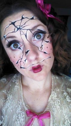 Broken porcelain doll makeup by Amber Dawn of the Dead