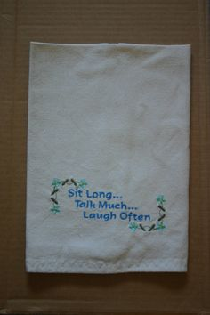 Embroidered Kitchen Towel Sit LongTalk by LJsCustomCreations, $10.50