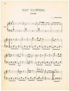 Free Printable - Antique May Flowers Sheet Music - Knick of Time