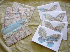 """Vintage Map Butterfly Cards and Map Envelopes-- 5 1/4"""" x 7 1/4"""""""
