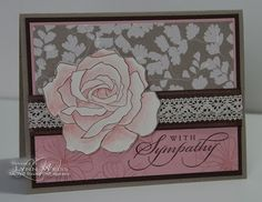 LW Designs: Stamp Set - Fifth Avenue Floral flower stamped in brown watercolored with blushing bride Dsp woodland walk