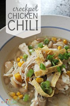 This delicious crock pot chicken chili recipe is the best ever!! You can make it with an entire chicken breast and shred later. It's so easy!