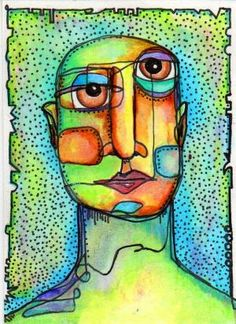 marker, watercolor, cubism lesson possibility by heidi