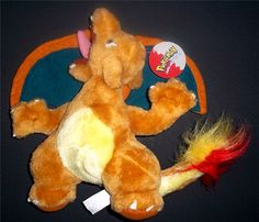 "POKEMON CHARIZARD FIRE DRAGON 8"" With Tags 1999 NintendoPlush Stuffed Toy"