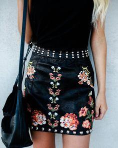 Walk This Way Studded Embroidered Mini Skirt