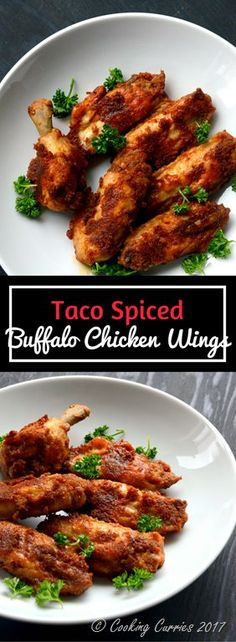 Taco Spiced Buffalo Chicken Wings for Game Day / Super Bowl Buffalo Chicken Wings with some little bit of an extra kick with Taco seasoning! - Commeny Chef Verdi: I didn't even know buffalo could fly! Lunch Recipes, Easy Dinner Recipes, Appetizer Recipes, Appetizers, Baked Chicken, Chicken Recipes, Cashew Chicken, Chicken Potatoes, Roast Chicken