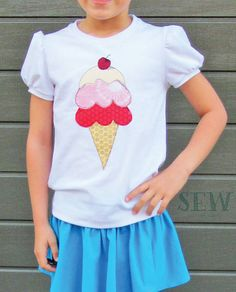 Cool As Ice free-motion appliqué FMA pattern and tutorial - add cute ice-creams and ice lollies to children's clothes, bags and more