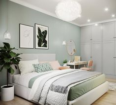 Green And White Bedroom, Green Rooms, Luxury Bedroom Design, Home Room Design, Interior Design, Room Ideas Bedroom, Home Decor Bedroom, House Rooms, Living Rooms