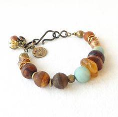 Aqua Amber Brown Bracelet Trending Artisan by connectionsbymaya, $62.00